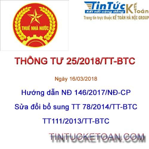 Thông tư 25/2018/TT-BTC