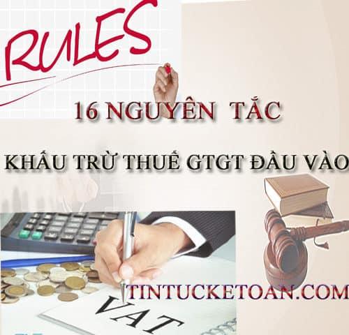 Các nguyên tắc khấu trừ thuế GTGT đầu vào