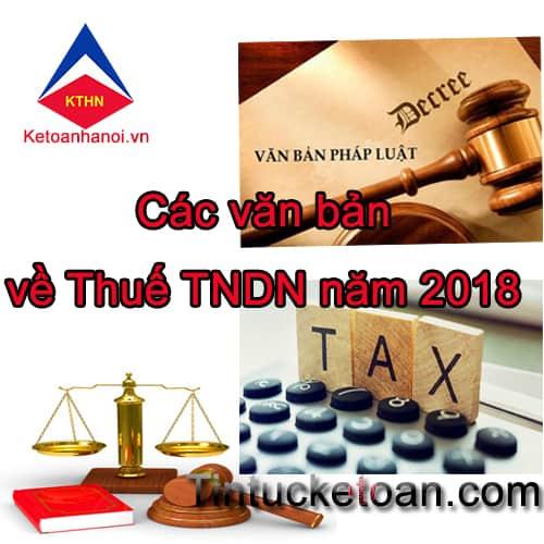 Văn bản mới nhất về thuế TNDN 2018