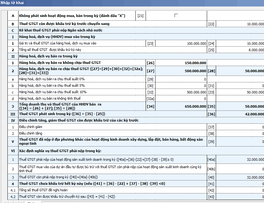 Ví dụ cách lập tờ khai thuế GTGT