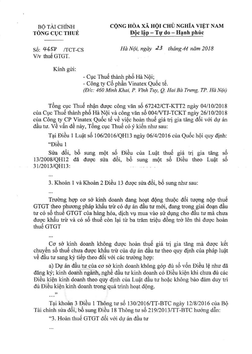 Công văn 4658/TCT của Tổng cục Thuế ngày 23/11/2018 về thuế GTGT
